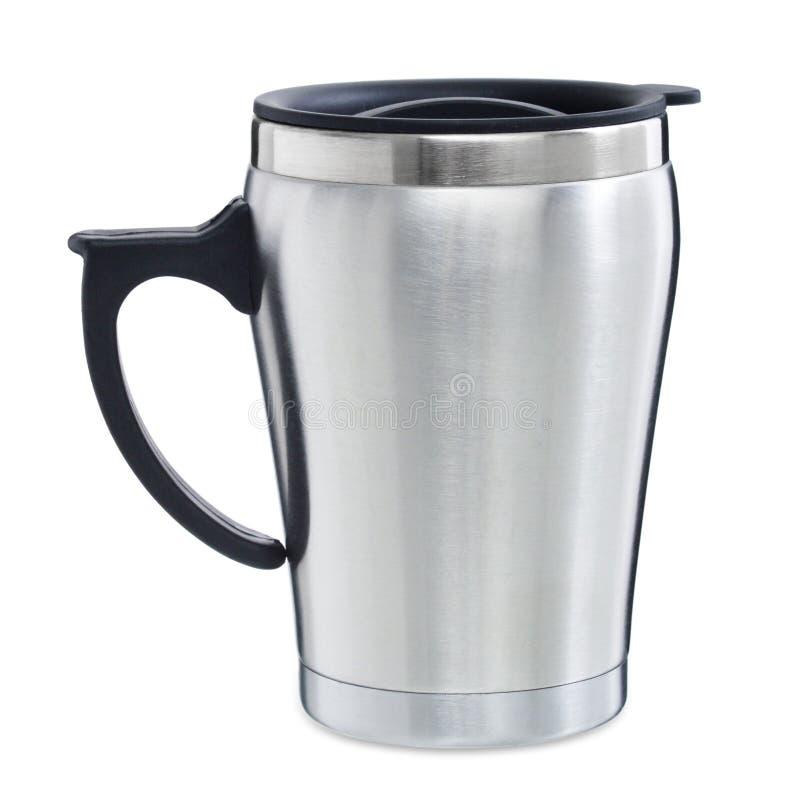 Leerer Aluminiumthermosflaschereise-Trommelbecher lokalisiert auf weißem Hintergrund lizenzfreie stockfotos