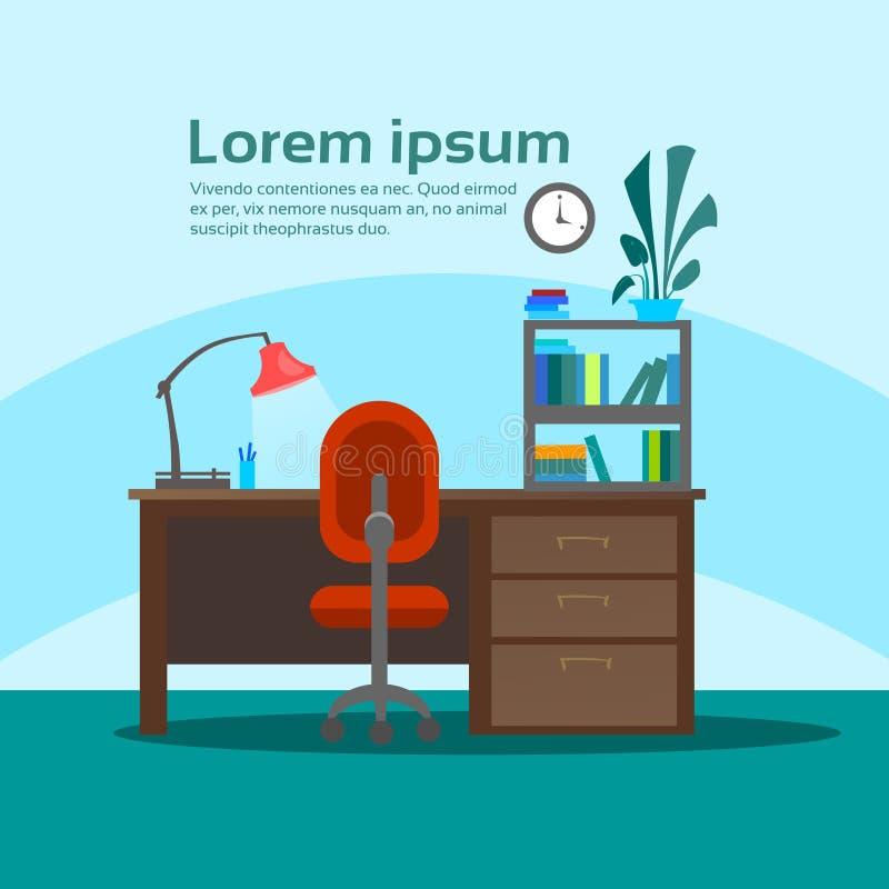Leerer Arbeitsplatz-Schreibtisch-Arbeitsplatz-Büro-Innenraum keine Leute stock abbildung