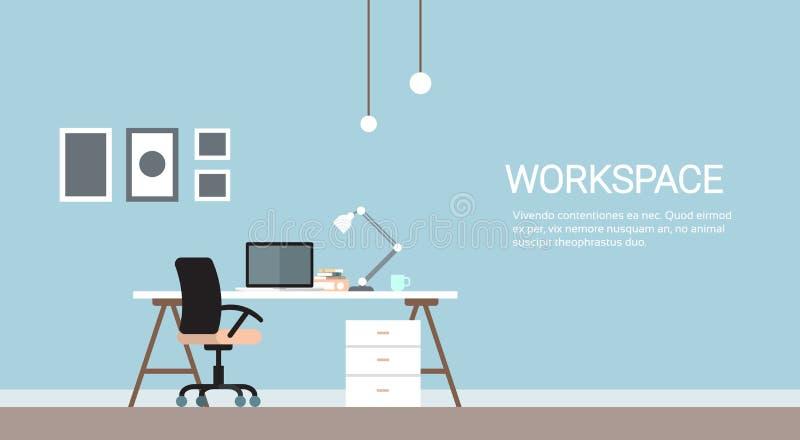 Leerer Arbeitsplatz, Schreibtisch-Stuhl-Computer-Arbeitsplatz-Büro keine Leute vektor abbildung