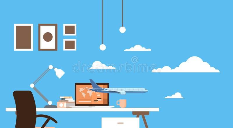 Leerer Arbeitsplatz-Tabellen-Laptop-Kauf-Karten-Online-Bewerbungs-Reise-Anmeldungs-Flugzeug-Flug stock abbildung