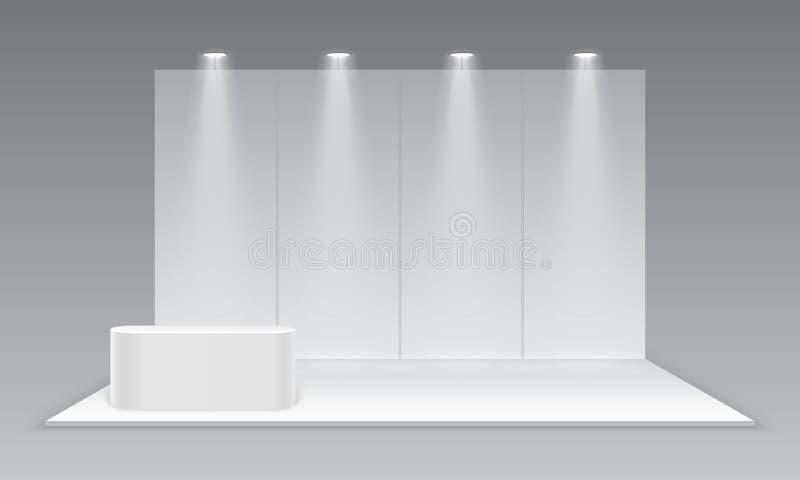 Leerer Ausstellungsmessenstand Weißer leerer fördernder Werbungsstand mit Schreibtisch Darstellungsereignis-Raumanzeige lizenzfreie abbildung