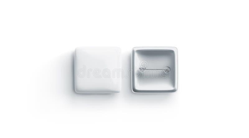 Leerer Ausweisspott des weißen Quadrats oben, vordere Rückseite, lokalisiert vektor abbildung