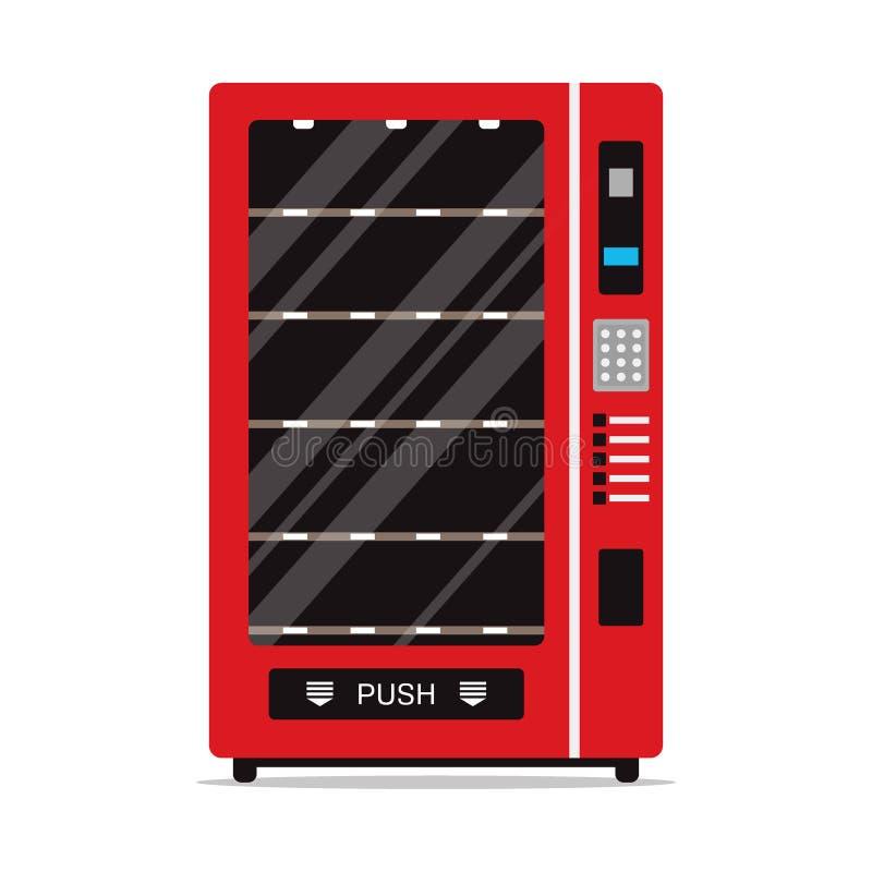 Leerer Automat lokalisiert auf weißem Hintergrund Automat mit Regalen für Nahrung oder andere Produkte, automatischer Verkäufer vektor abbildung