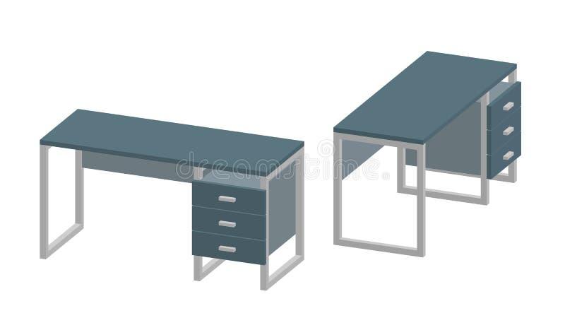 Leerer Büroschreibtisch Getrennt auf weißem Hintergrund Abbildung des Vektor 3d stock abbildung
