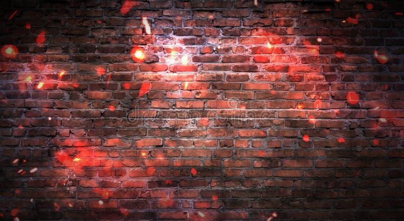 Leerer Backsteinmauerhintergrund, Nachtansicht, Neonlicht, Strahlen lizenzfreie stockbilder