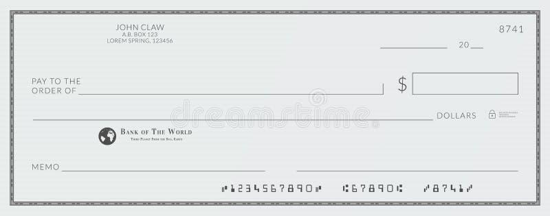 Leerer Bank-Scheck stock abbildung
