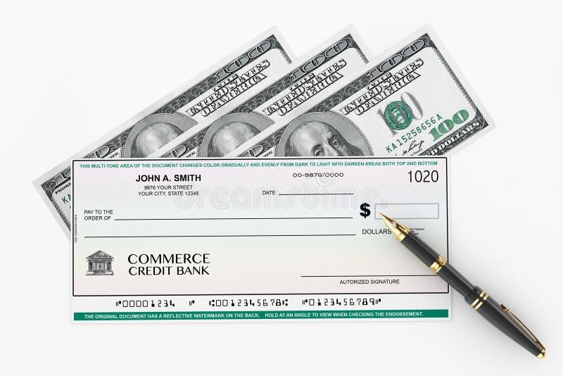 Leerer Bankscheck und Füllfederhalter mit Dollarscheinen stock abbildung