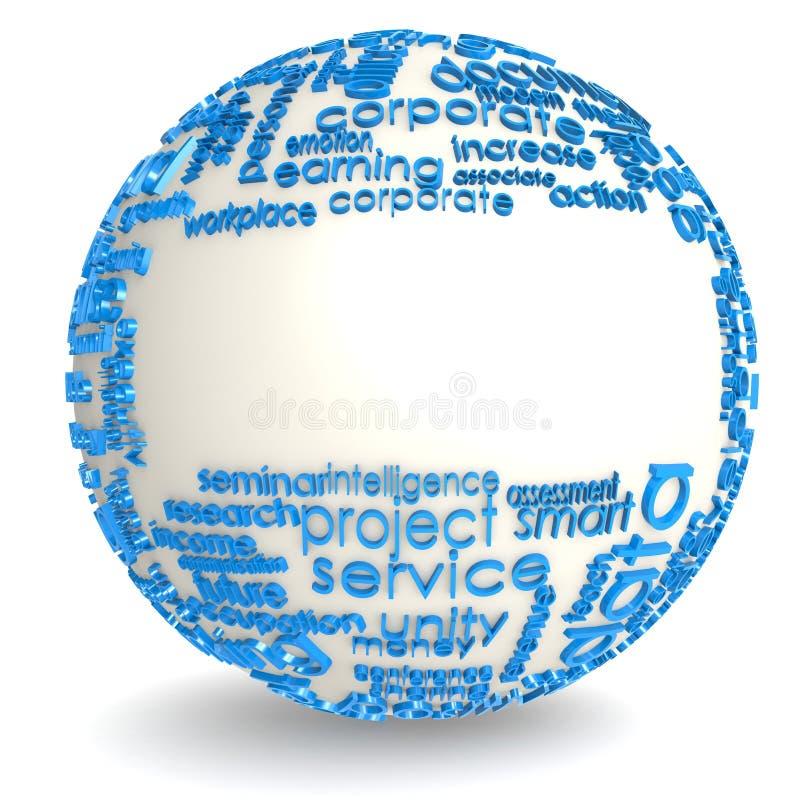 Leerer Bereich mit blauer Wortwolke stock abbildung