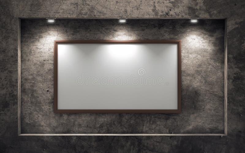 Leerer Bilderrahmen auf alter Betonmauer vektor abbildung
