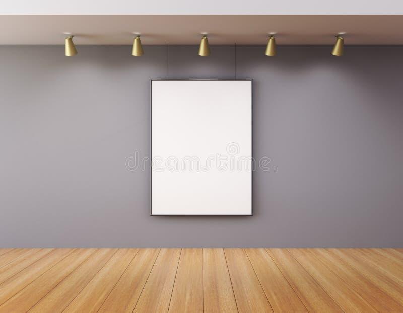 Leerer Bilderrahmen in einer Galerie stockbilder