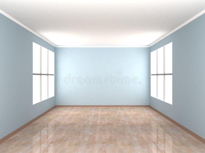 Leerer blauer Raum mit zwei Fenstern lizenzfreie abbildung