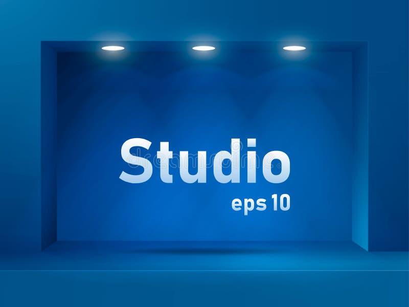 Leerer blauer Studioraum mit quadratischem beleuchtetem Bogen und Nut Freier Raum für Produktdarstellung vektor abbildung