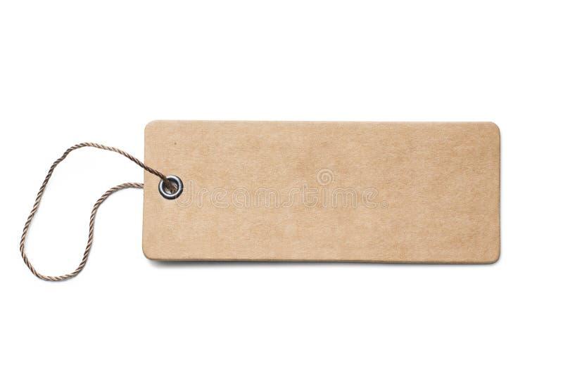 Leerer brauner Papp-Preis oder -aufkleber mit dem Thread lokalisiert lizenzfreies stockfoto