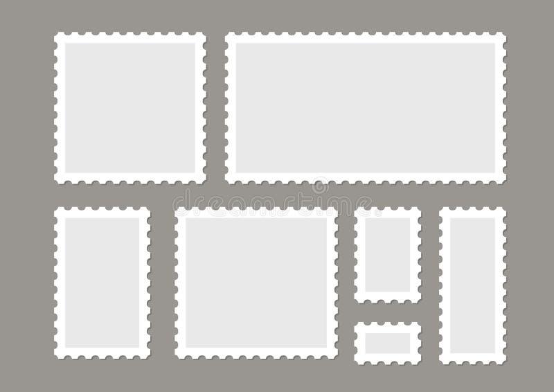 Leerer Briefmarkevektor stellte lokalisiert ein Kennzeichenpost-Buchstabestempel entwerfen Postrahmenaufkleber stock abbildung