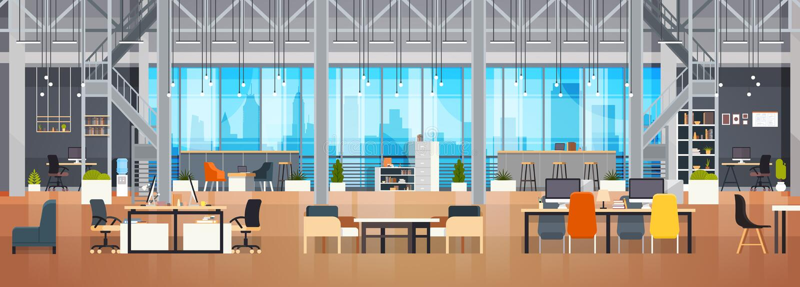 Leerer Coworking-Raum moderner Coworking-Büro-kreativer Arbeitsplatz-Innenraum-horizontale Fahne vektor abbildung