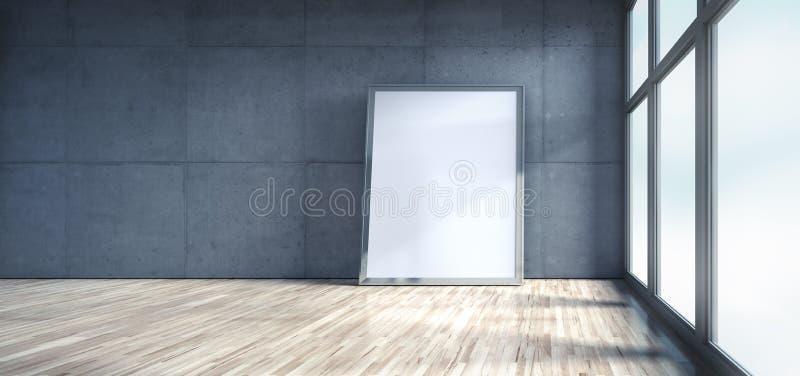 Leerer Dachboden mit Betonmauer lizenzfreie abbildung