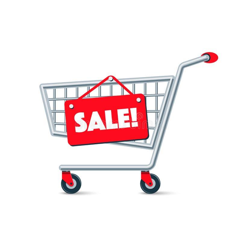 Leerer Draht-Warenkorb mit rotem Verkaufs-Zeichen-Brett stock abbildung