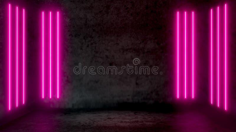 Leerer dunkler abstrakter Raum mit Rosaleuchtstoff Neonlichtern stock abbildung