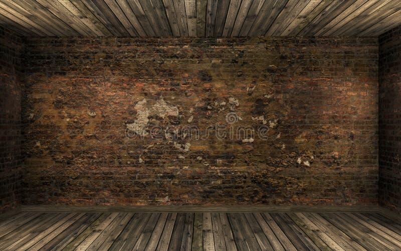 Leerer dunkler alter verlassener Rauminnenraum mit alter gebrochener Backsteinmauer und altem Massivholzboden stockbilder