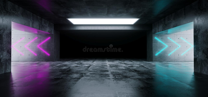 Leerer eleganter moderner Schmutz-dunkler Reflexions-Beton Undergroun lizenzfreie abbildung