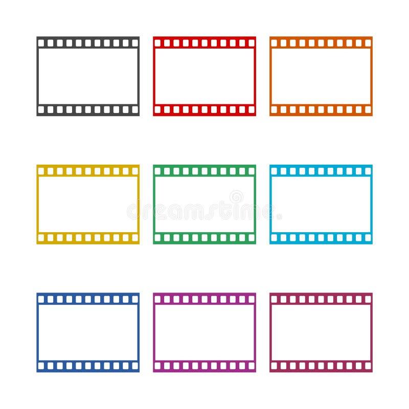 Leerer Filmstreifen, Filmrahmenikone, Farbikonen eingestellt stock abbildung
