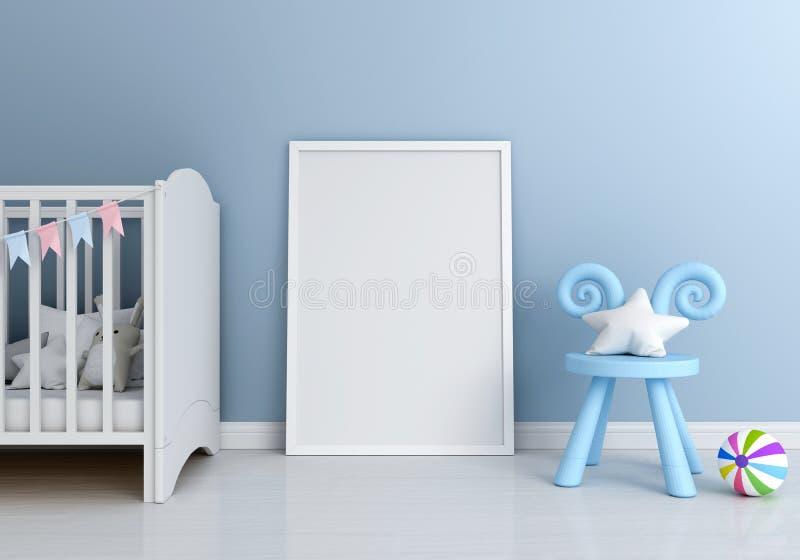 Leerer Fotorahmen für Modell und Stuhl auf Boden, Wiedergabe 3D lizenzfreie abbildung