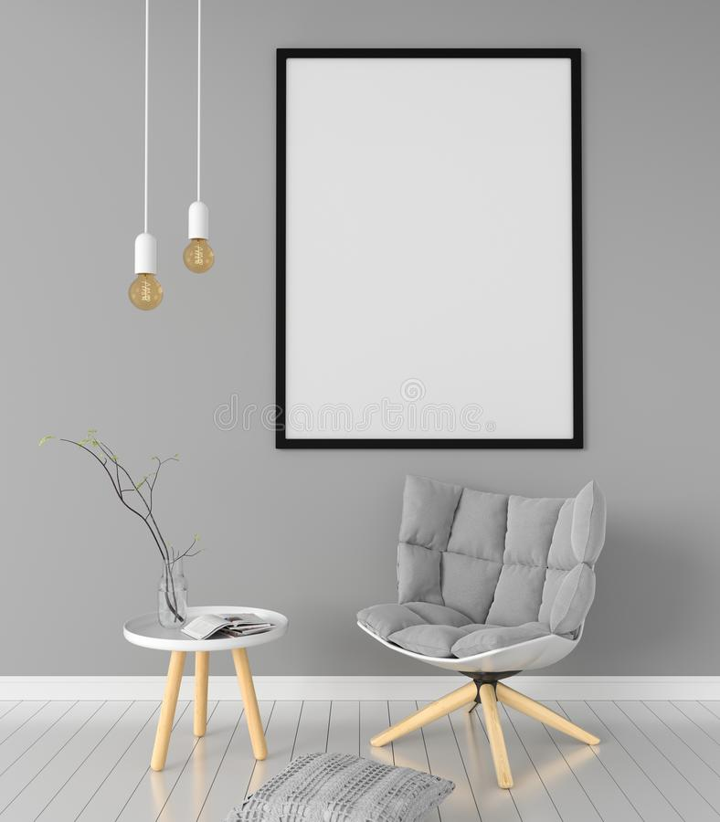 Leerer Fotorahmen für Modell im Wohnzimmer, Wiedergabe 3D lizenzfreie abbildung