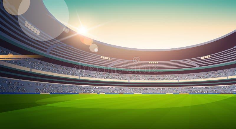 Leerer Fußballstadions-Feldansichtsonnenuntergang flach horizontal lizenzfreie abbildung