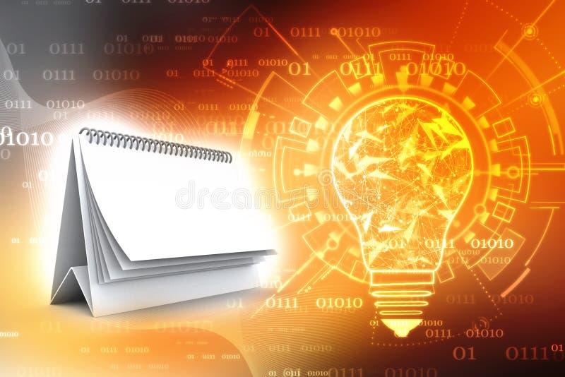 Leerer gewundener Kalender auf digitalem Hintergrund lizenzfreie abbildung