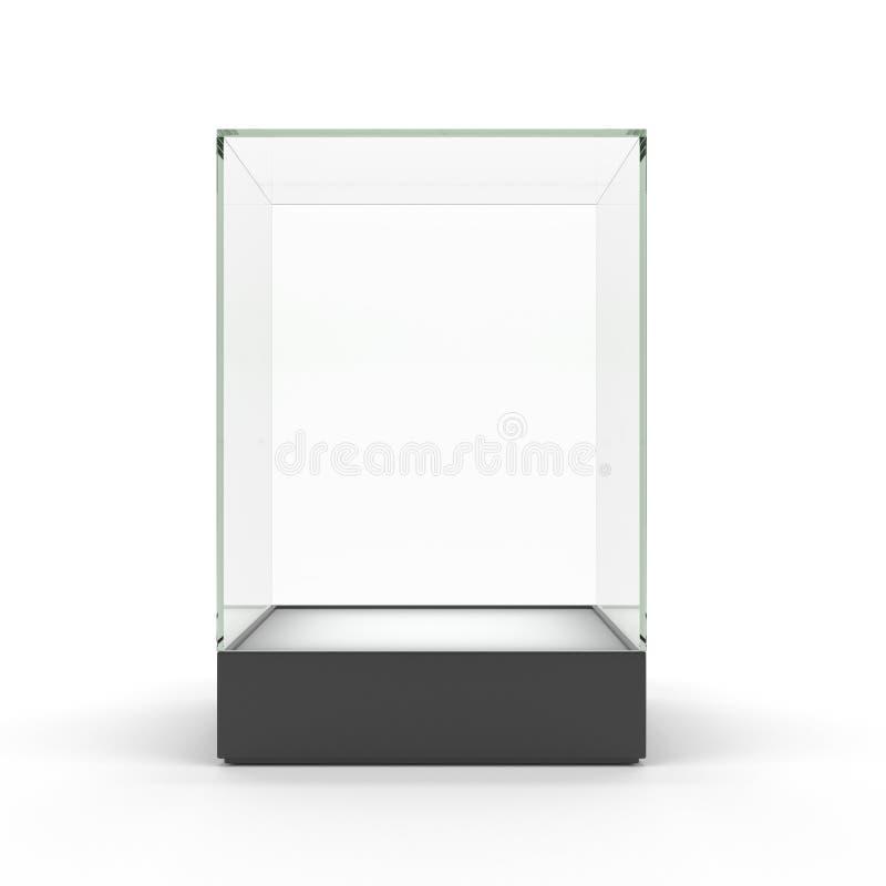 Leerer Glasschaukasten für die Ausstellung getrennt lizenzfreie abbildung