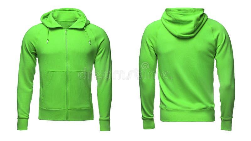 Leerer grüner männlicher Hoodiesweatshirtbeschneidungspfad, Pullover für Designmodell und Schablone für Druck, lokalisierten weiß stockbild
