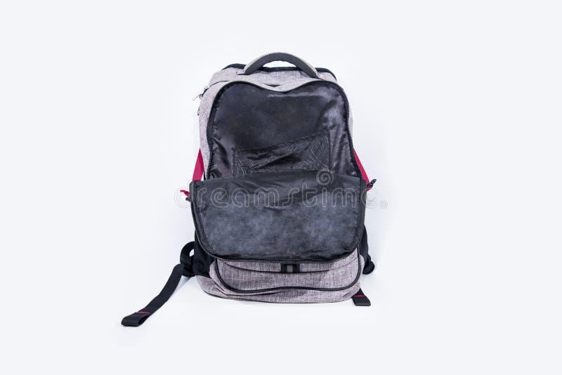 Leerer grauer Rucksack lokalisiert auf weißem Hintergrund stockfotos