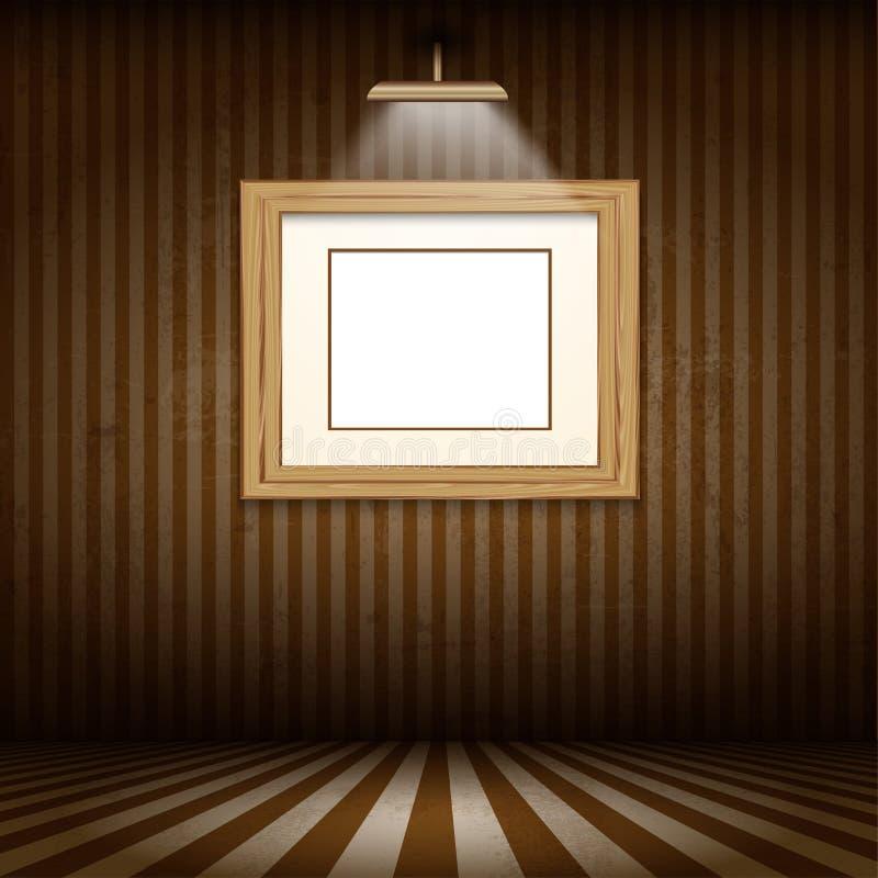 Hölzerner Bilderrahmen im Schmutzinnenraum vektor abbildung