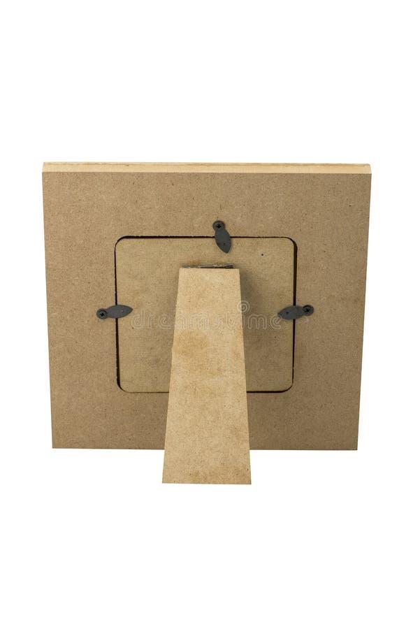 Leerer hölzerner Fotorahmen für den Schreibtisch, hintere Ansicht, lokalisiert auf weißem Hintergrund Beschneidungspfad eingeschl lizenzfreie stockbilder