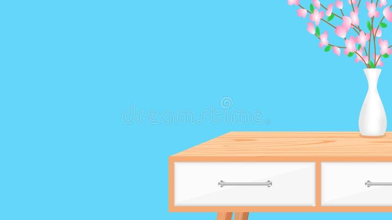 Leerer hölzerner Schreibtisch auf Toilettenhintergrundnahaufnahme, moderne hölzerne Tabelle im leeren blauen Wandraum, Dekorati lizenzfreie abbildung