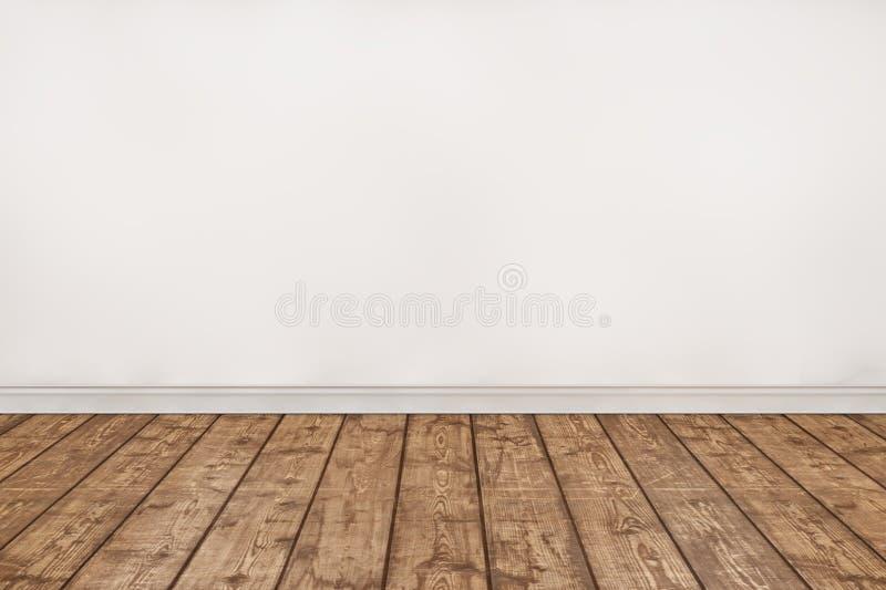 Leerer Holzfußboden und weißer Wandraum stock abbildung
