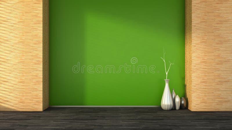 Leerer Innenraum mit einer grünen Wand und Vasen vektor abbildung