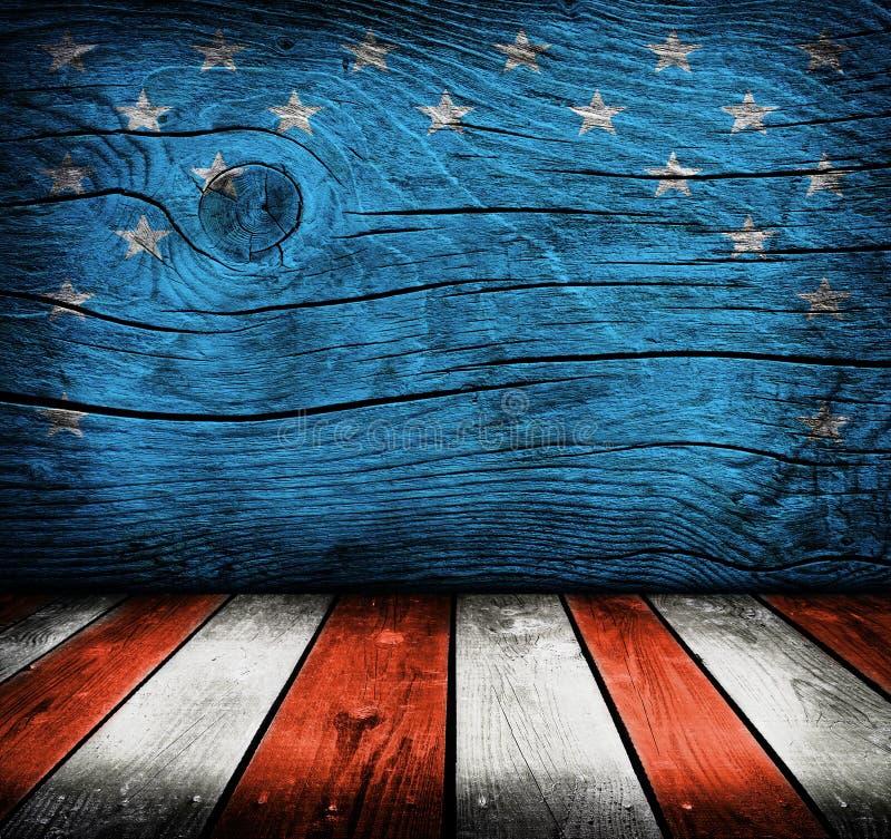Leerer Innenraum mit Farben der amerikanischen Flagge lizenzfreie stockfotos