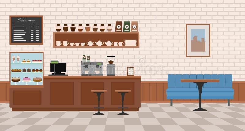 Leerer Kaffeinnenraum lizenzfreie abbildung