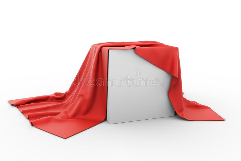 Leerer Kasten bedeckt mit Stück des roten Stoffes lizenzfreie abbildung
