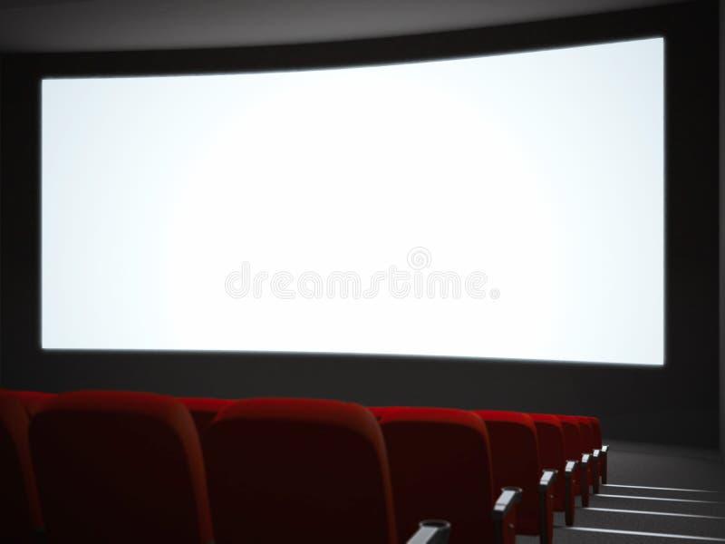 Leerer Kinobildschirm mit Auditorium Wiedergabe 3d stockbilder