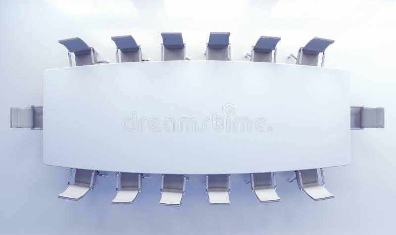 Leerer Konferenzsaal mit weißen Tabellen- und Bürostühlen stockfotos