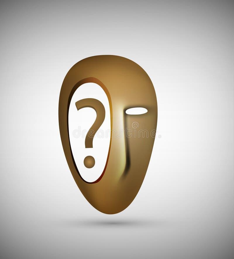 Leerer Kopf mit lokalisierter, surrealer Ansicht des Fragezeichen-Inneres, Frage innerhalb der Idee oder Konzept, lizenzfreie abbildung
