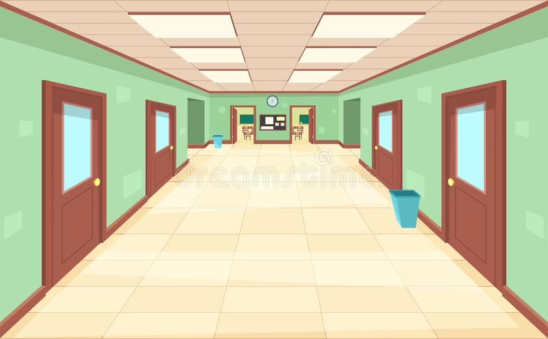 Leerer Korridor mit geschlossen und offene Türen Der Innenraum der Schule, des Colleges oder der Universität stock abbildung