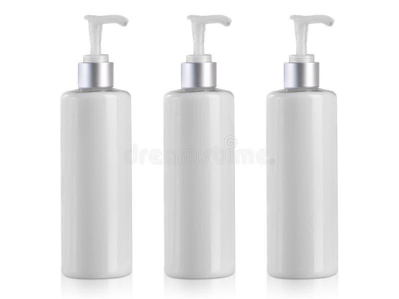 Leerer kosmetischer Behälter lokalisiert auf weißem Hintergrund stockbild