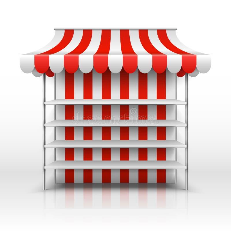 Leerer Marktstall Kiosk mit gestreifter Markisenvektorschablone lizenzfreie abbildung