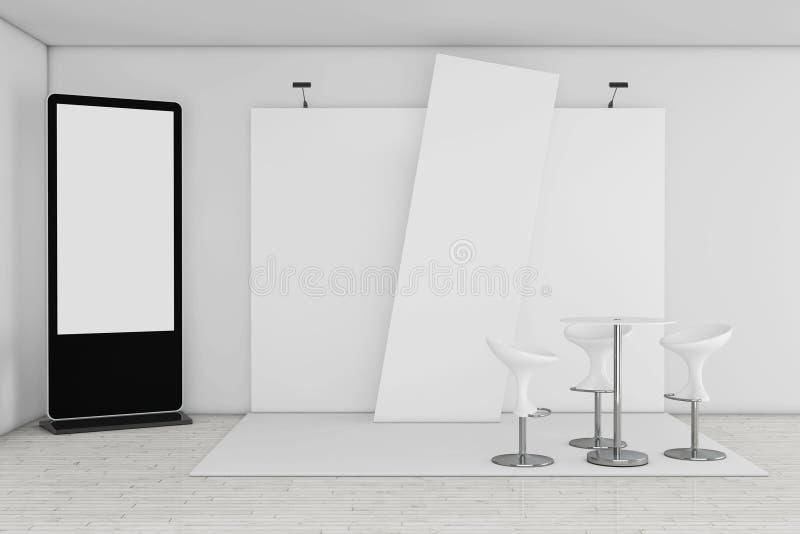 Leerer Messen-LCD-Bildschirm-Stand als Schablone für Ihr Designne vektor abbildung