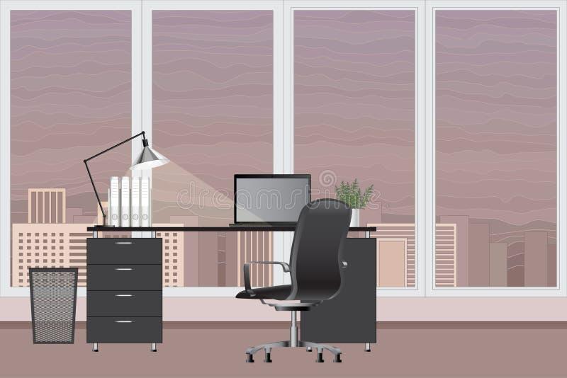 Leerer moderner Büroinnenraum Regenbogen und Wolke auf dem blauen Himmel Büroarbeitsplatzkonzept lizenzfreie abbildung