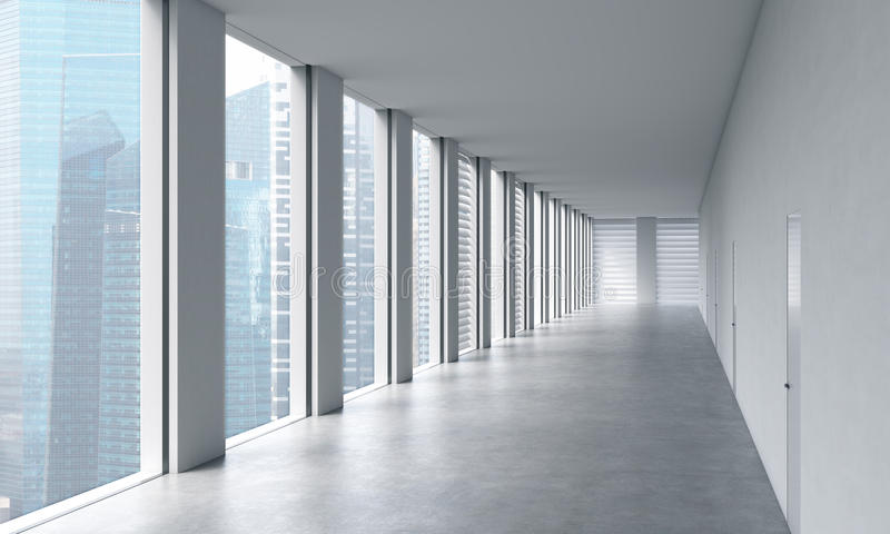 Leerer moderner heller sauberer Innenraum eines Büros des offenen Raumes Enorme panoramische Fenster mit Singapur-Ansicht Ein Kon vektor abbildung