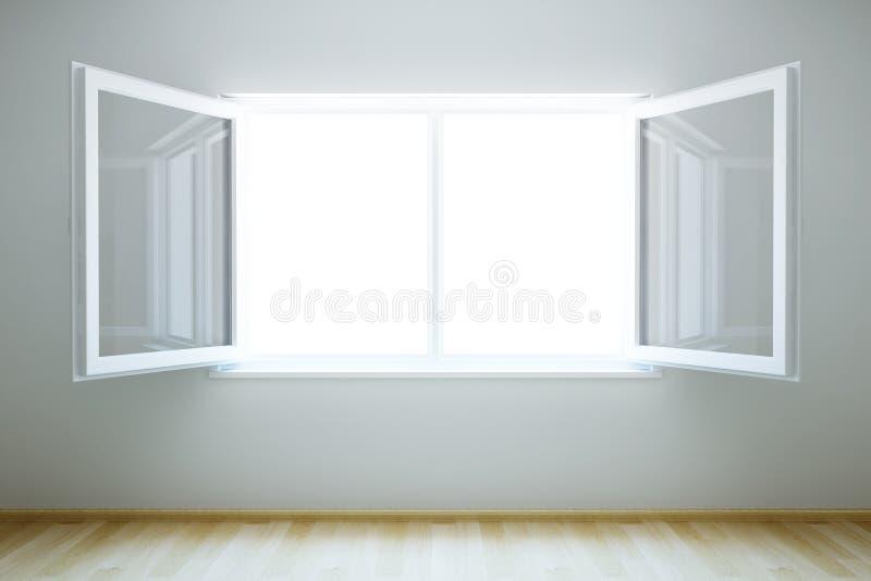 Leerer neuer Raum mit geöffnetem Fenster stock abbildung